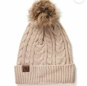 🍓Adore Me Winter Beanie Cable Knit Tan Pom Pom
